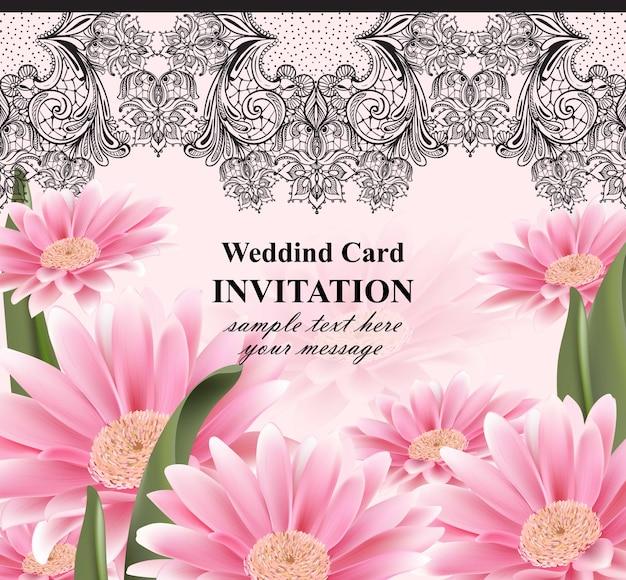 레이스와 데이지 꽃 카드 벡터입니다. 현실적인 꽃 장식과 빈티지 초대
