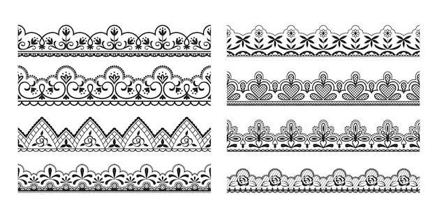 Lace borders. seamless vintage decorative ribbons with ornamental and floral elements, cloth black tape pattern.