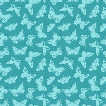 Lace butterflies silhouettes  seamless background pattern
