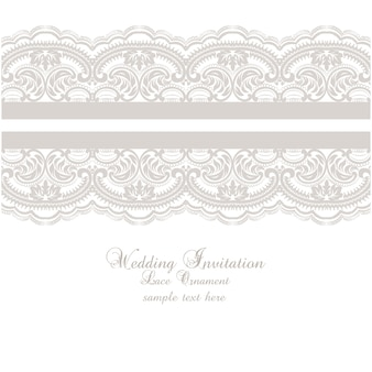 Lace ornament wedding invitation template