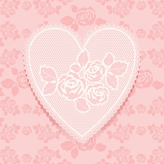 Lace pink in heart shape