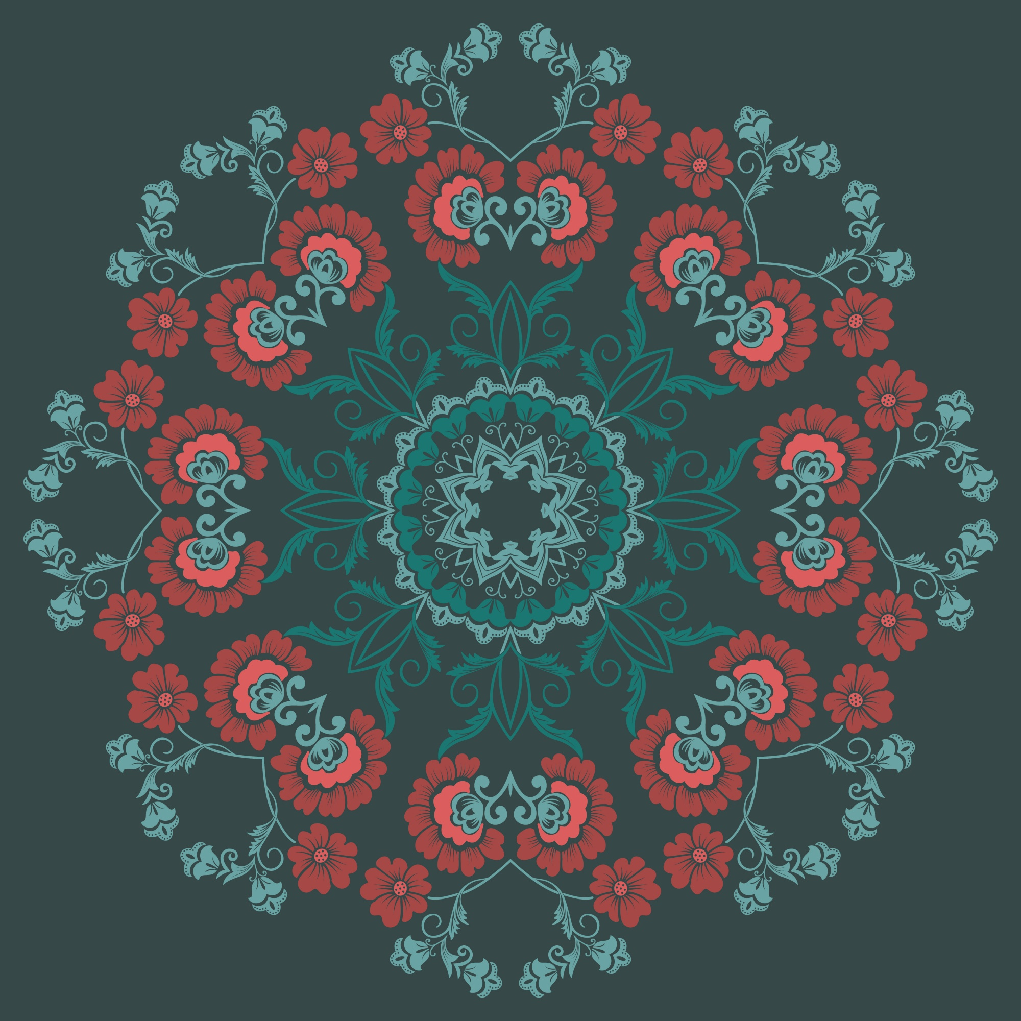 Lace round floral embroidery wallpaper