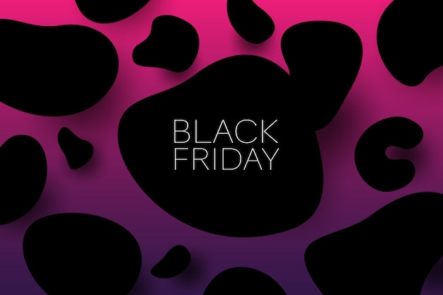 Lack friday sale 3d vector illustration banner with organic form black objects. sales promotion concept.