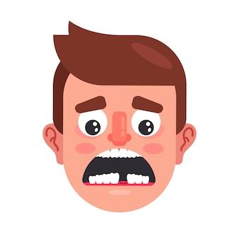Отсутствие зуба во рту у мужчины. необходимость имплантации зубов. плоские векторные иллюстрации.