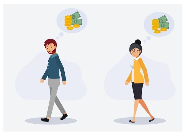 お金の不足、お金の不足、財政問題の概念。男性と女性が歩いてお金を心配しています。フラットベクトル2d漫画のキャラクターイラスト。