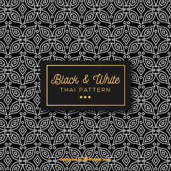 Lack and white thai pattern with elegant design