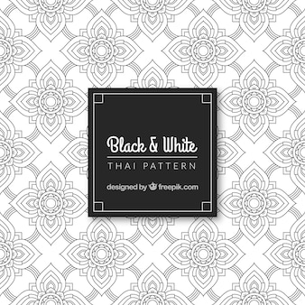 Lack and white thai pattern with elegant design