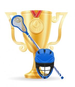 Lacrosse cup winner gold stock.