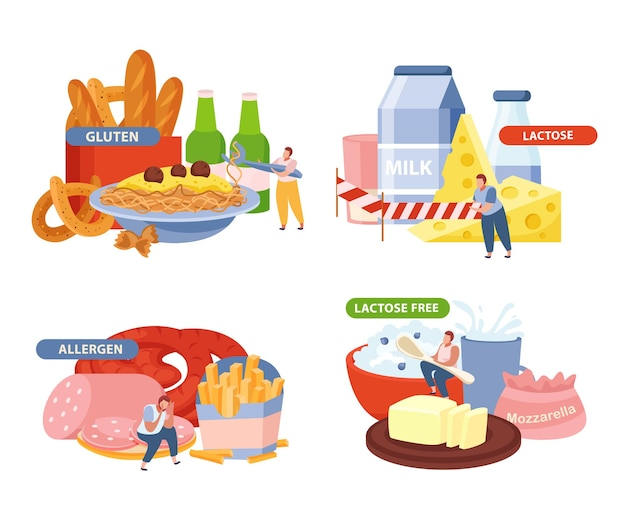 乳糖とグルテンの概念のアイコンは、フラットに分離されたアレルゲンのシンボルで設定されています