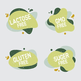 Lactose free icon set. food badge contains no lactose label for healthy dairy food product package. vector signs for packaging design, cafe, restaurant badges, tags.