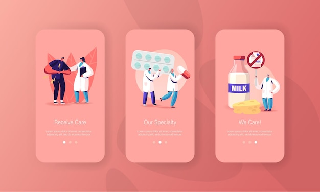 Lactose and milk intolerance mobile app page screen templates