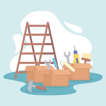 Лестница и инструменты