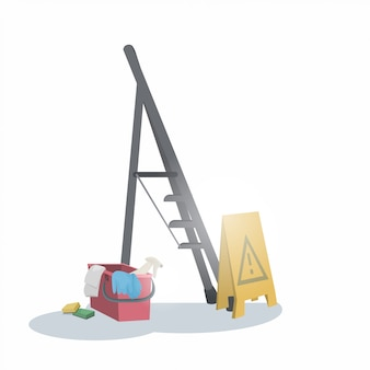 はしごバケツとウェット床サインクリーニングサービスコンセプト