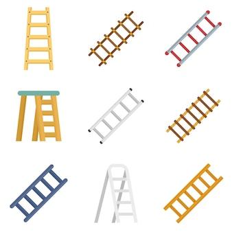 はしごアイコンを設定します。白い背景で隔離のはしごベクトルアイコンのフラットセット