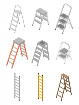 Ladder icons set, isometric style