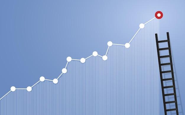 Лестница на графике вверх для бизнес-концепции