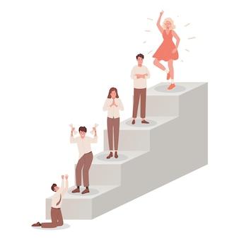 Лестница с людьми, испытывающими разные эмоции, векторная плоская иллюстрация, различные