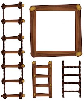 はしごと木製フレーム