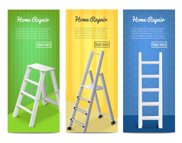 Ladders realistic  banners set