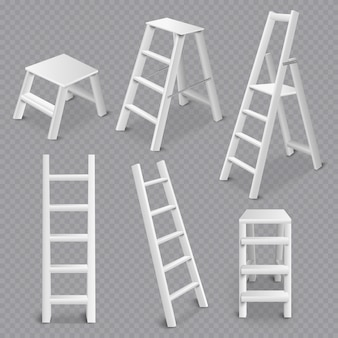 Ladders realistic set transparent