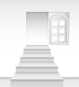 Ladders towards the door vector illustration