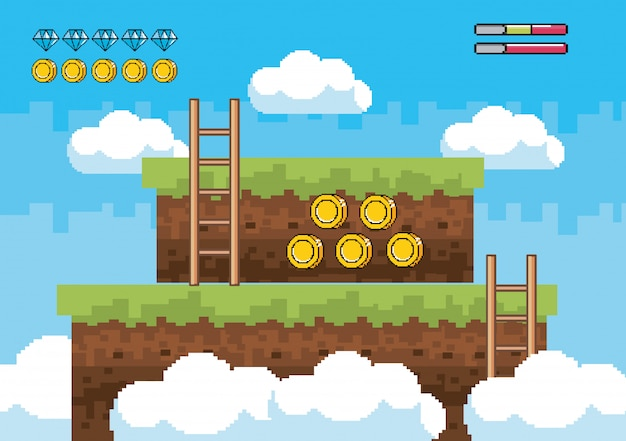 Ladders with diamonds and coins bars of life