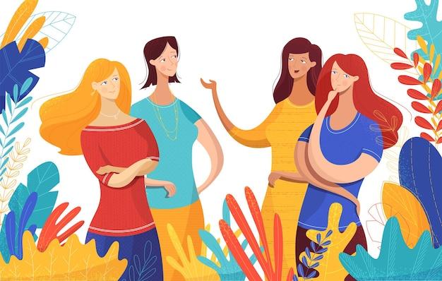 友好的なチャットを持っている女性のコミュニケーションフラットベクトルイラストの女の子