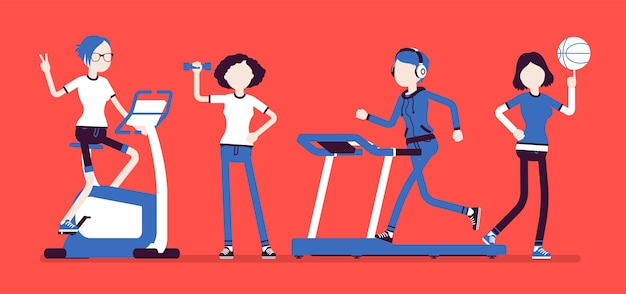 Дамы делают спортивные упражнения с оборудованием