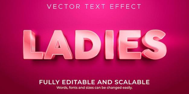 女性の編集可能なテキスト効果、ピンクと光沢のあるテキストスタイル