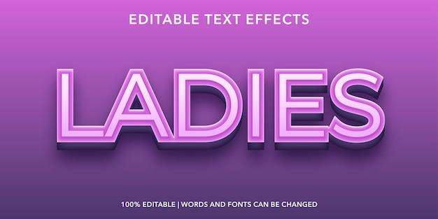 Ladies editable text effect