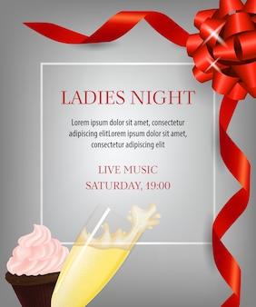 Дамская ночная надпись, десерт и бокал с шампанским