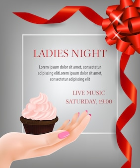 Ladies night lettering with ribbons and dessert