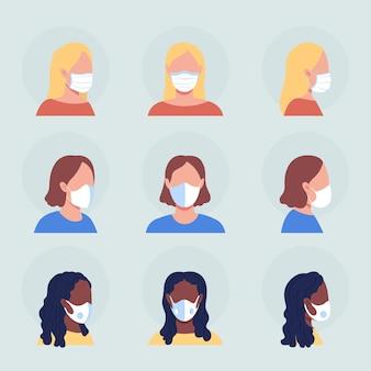 흰색 마스크 반 평면 색상 벡터 캐릭터 아바타 세트를 가진 여성. 전면 및 측면 보기에서 인공 호흡기와 초상화입니다. 그래픽 디자인 및 애니메이션 팩을 위한 격리된 현대 만화 스타일 그림
