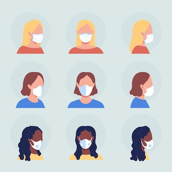 Ladies with white masks semi flat color vector character avatar set. portrait with respirator from front and side view. isolated modern cartoon style illustration for graphic design and animation pack
