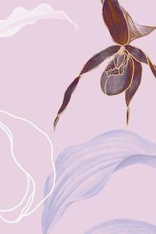 여성용 슬리퍼 난초 잎이 많은 배경 벡터