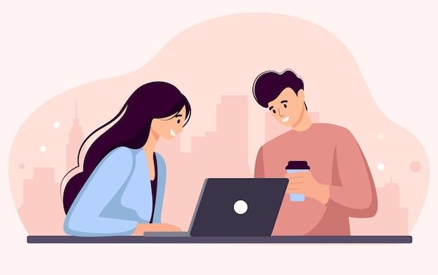 Женщина и мужчина работают за ноутбуком и генерируют идею