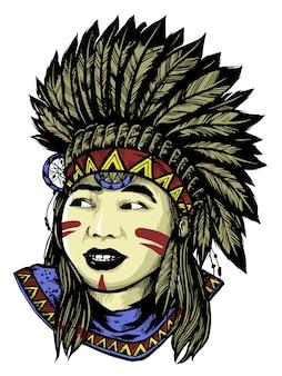 Леди апач с маской дизайн иллюстрация