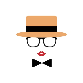 Lady avatar in hat, lips, glasses and a bow tie.