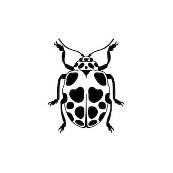 Леди жук логотип символ трафарет дизайн татуировки векторные иллюстрации