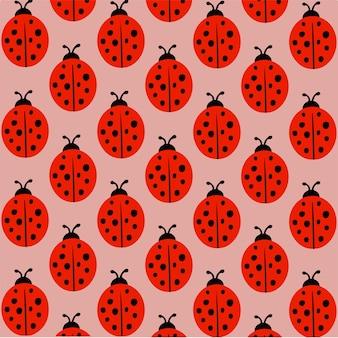 Lady beetle pattern background social media post vector illustration