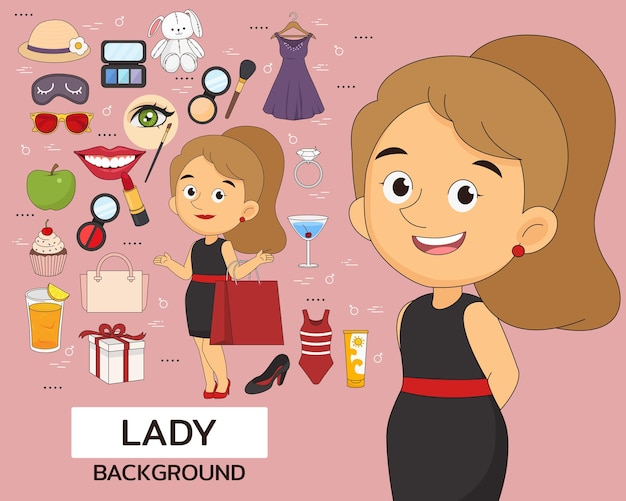 Lady concept background. flat icons.