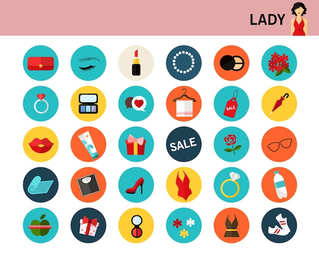 Lady consept flat icons.
