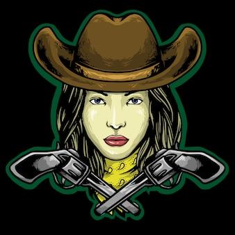 帽子と銃のロゴのマスコットを持つ女性のカウボーイ