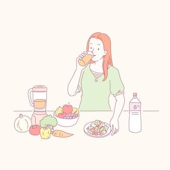 Леди пьет здоровый сок и овощи на столе в стиле линии