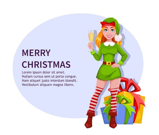 Lady elf merry christmas and happy new year