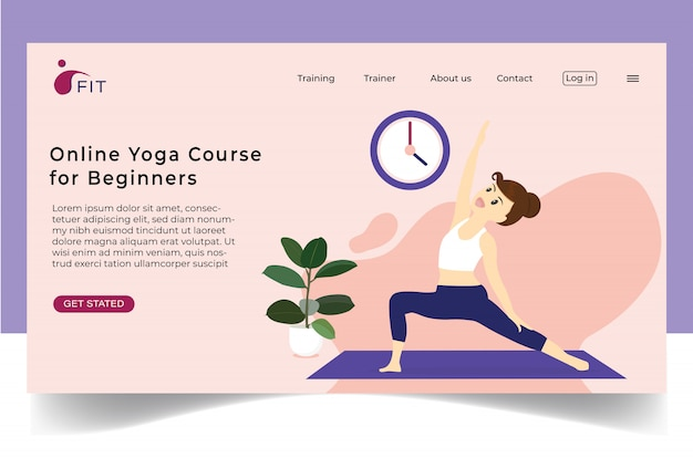 Lady exercise online yoga at home flat concept  for banner website.