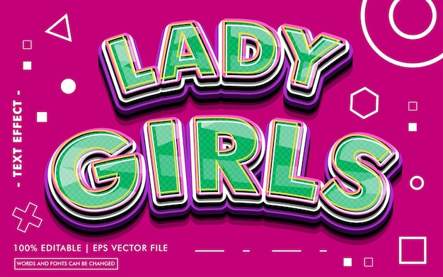 Lady girls text effect style