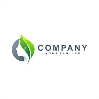Леди зеленый градиент дизайн логотипа