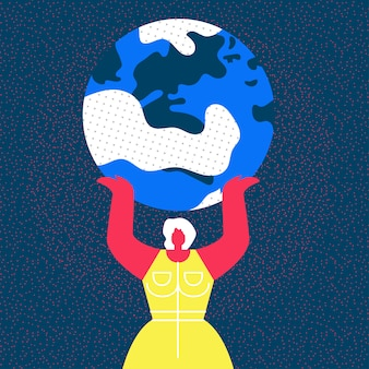 Lady hold planet earth flat illustration
