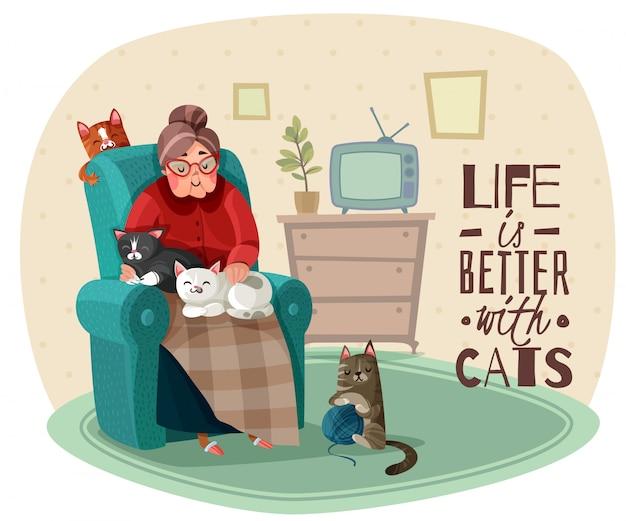 Иллюстрация леди в кресле кошек